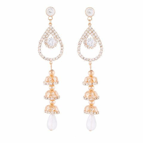 Gold colour Jhumkis shape Stone Studded Earring
