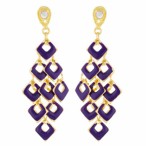 Purple colour Daimond shape Stone Studded Earring