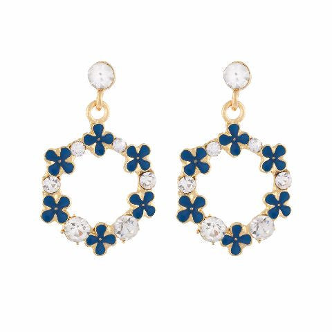 Blue colour Round shape Stone Studded Earring