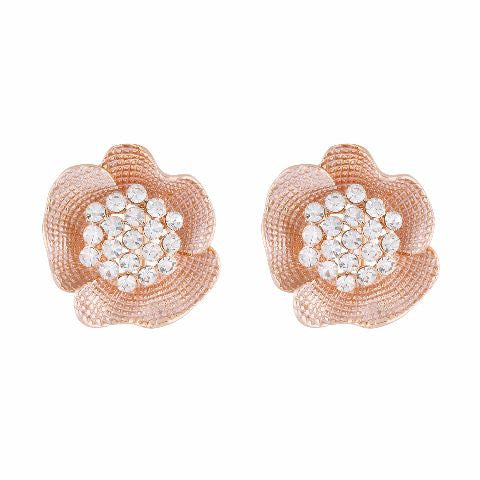 Gold colour Floral shape Stone Studded Earring
