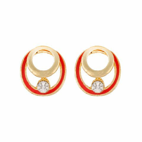 Red colour round shape Enamel Earring