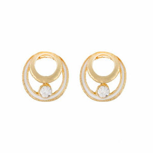 White colour round shape Enamel Earring