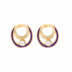 Purple colour round shape Enamel Earring