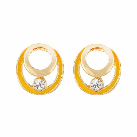 Yellow colour round shape Enamel Earring