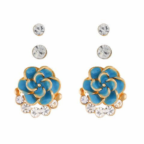 Blue colour Rose shape Stone Studded Earring