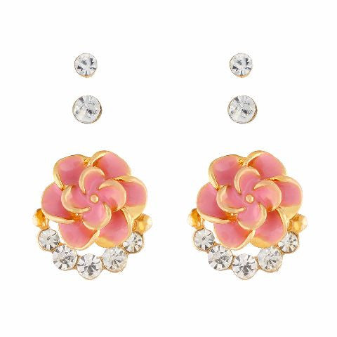 Pink colour Rose shape Stone Studded Earring