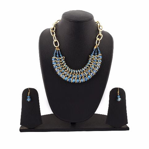 Gold and Blue colour Western design Necklace Set