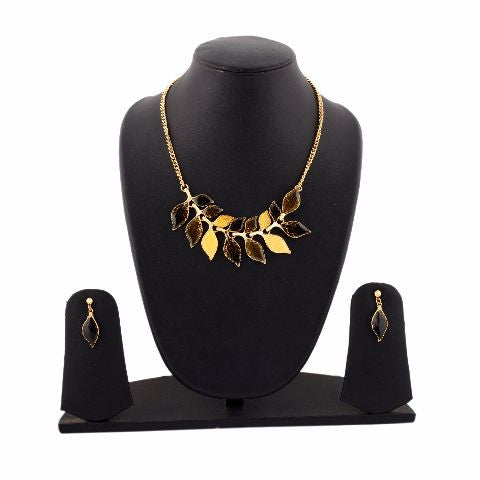 Black and Yellow colour Western design Necklace Set