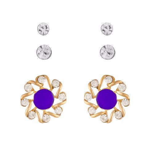 Purple colour Round shape Stone Studded Earring