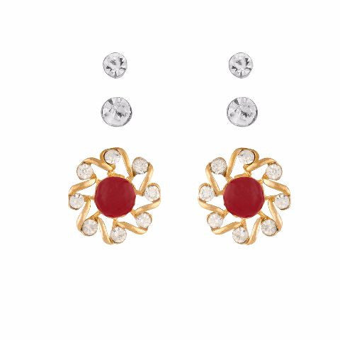Red colour Round shape Stone Studded Earring