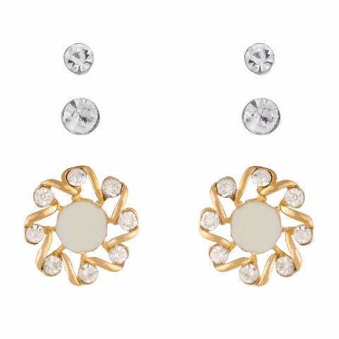 White colour Round shape Stone Studded Earring