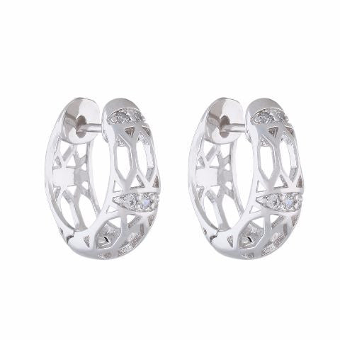 Silver colour Bali shape smart carving Earring