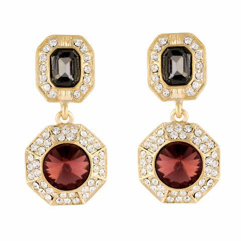 Multicolour colour round shape Stone Studded Earring