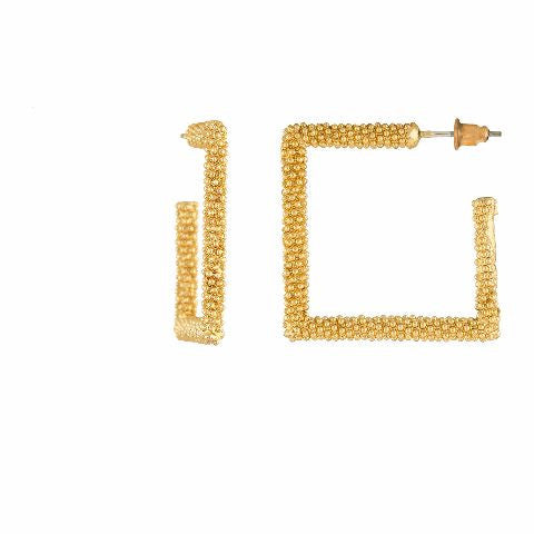 Gold colour Rhombus shape smart carving Earring