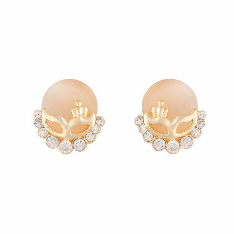 Gold colour Round shape Stone Studded Earring