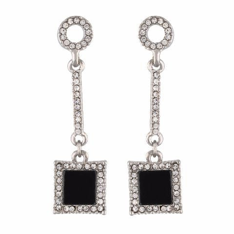 Silver colour rhombus  shape Stone Studded Earring