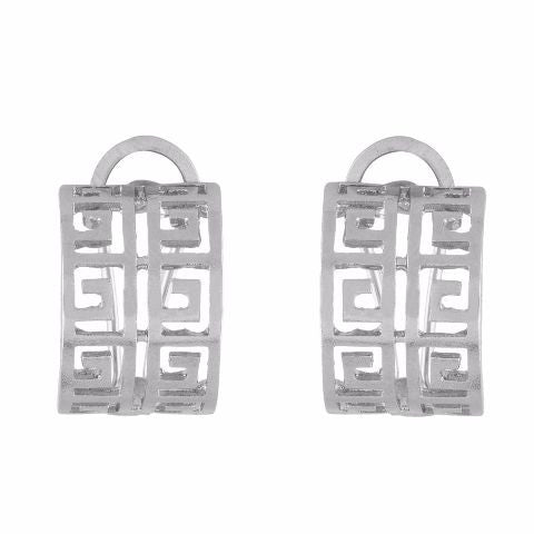 Silver colour square shape smart carving Earring