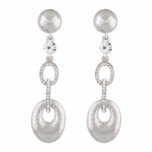 Silver colour oval shape smart carving Earring