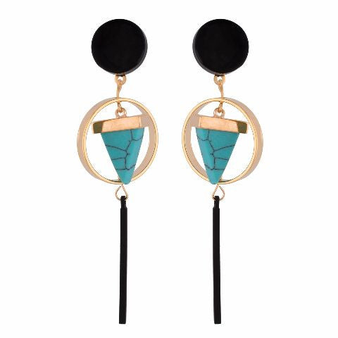 Turquoise Blue colour Geometrical shape smart carving Earring