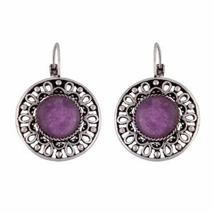 Silver colour Round shape Stone Studded Earring