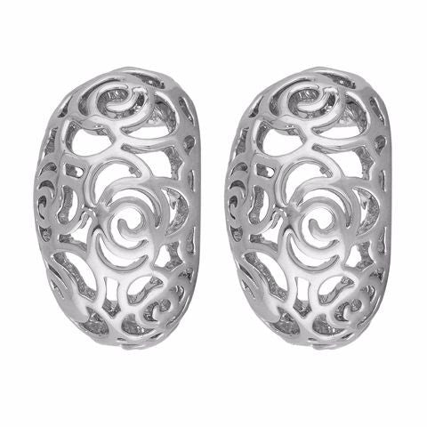 Silver colour Round shape smart carving Earring