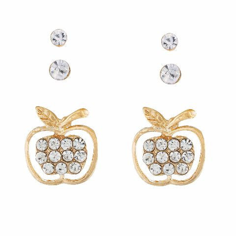 Gold colour Apple shape Stones Studded Earring