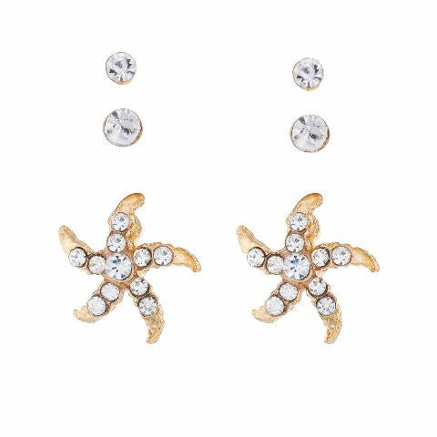 Gold colour Floral shape Stones Studded Earring
