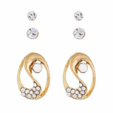 Gold colour Oval shape Stones Studded Earring