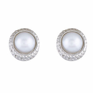 Silver colour Round shape Pearl Earring