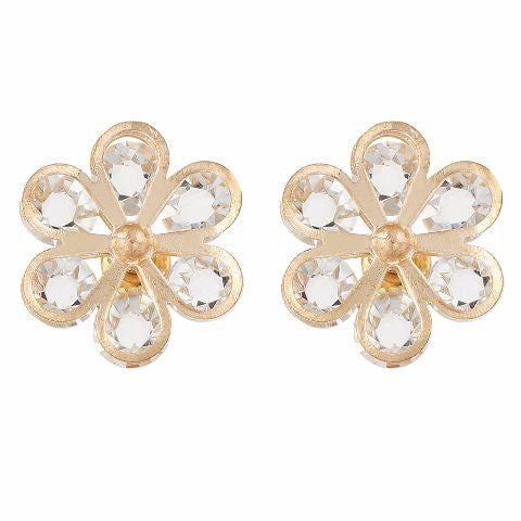 Gold colour Floral shape Crystal Earring