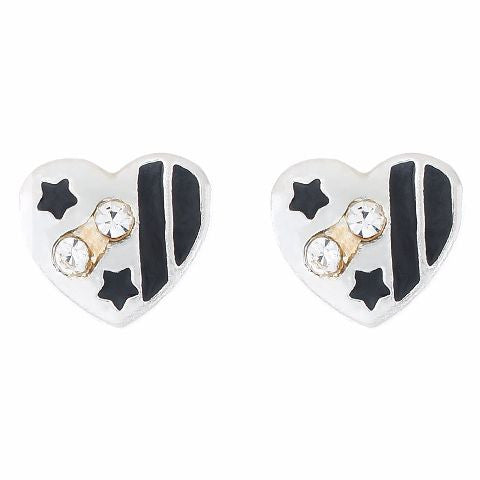 Black colour Heart shape Stone Studded Earring