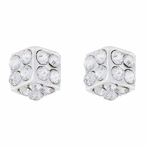 Silver colour Cube shape Stone Studded Earring