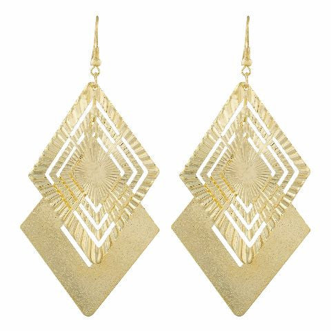 Gold colour Diamond shape Smartly Crafted Earring