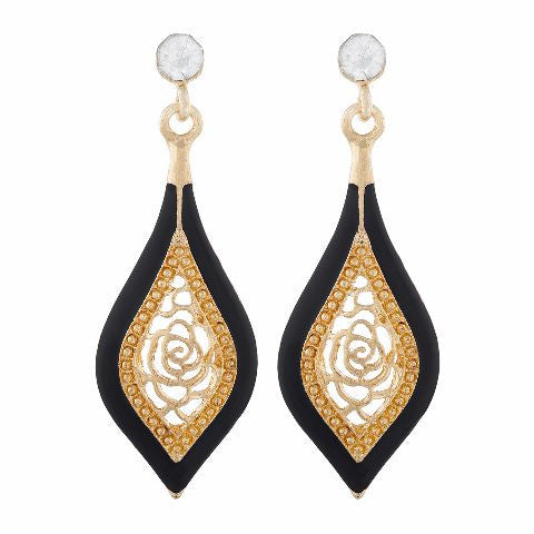 Gold colour Drop shape Enamel Earring