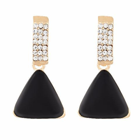 Gold colour Triangular shape Enamel Earring