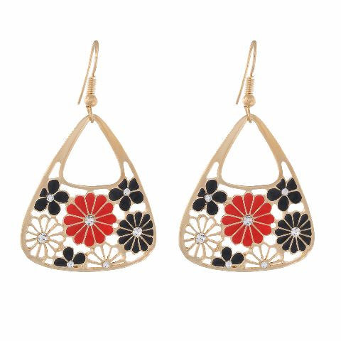 Gold colour Traingular and floral shape Enamel Earring