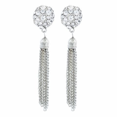 Silver colour Ball shape Stones Studded Earring
