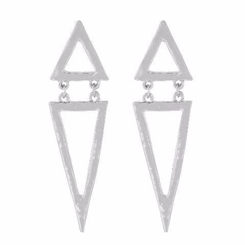 Silver colour Triangular shape Smartly Crafted Earring