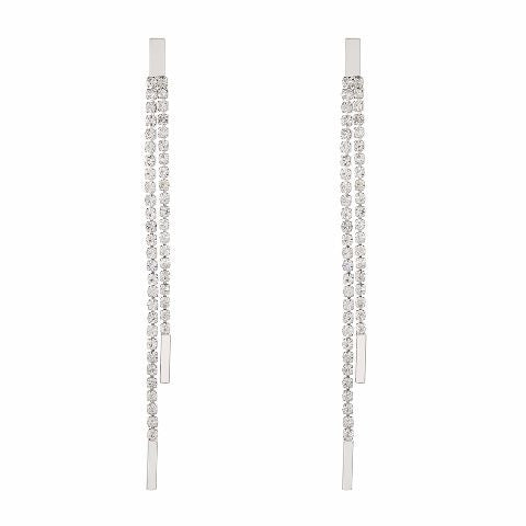 Silver colour 2 line shape Stone Studded Earring