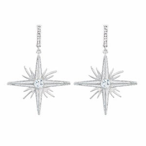 Silver colour Star shape Stone Studded Earring