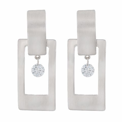Silver colour Rectangular shape Smartly Crafted Earring
