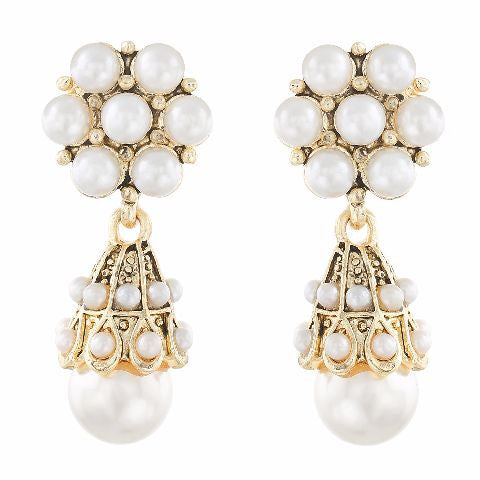 White colour Jhumki shape Pearl Earring