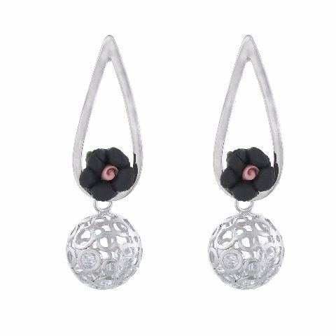 Silver colour Drop shape Ceramic Flower Earring