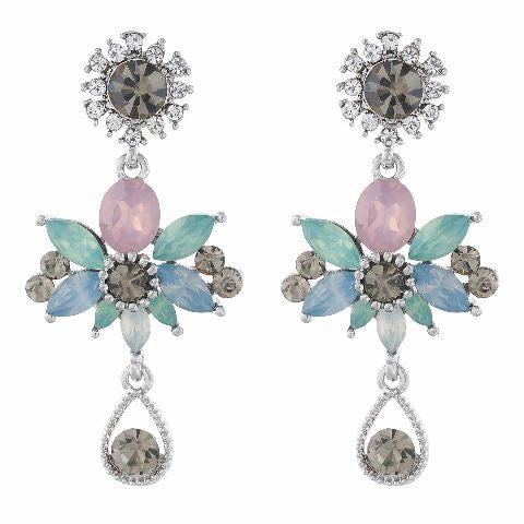 Multicolour colour Floral shape Stone Studded Earring