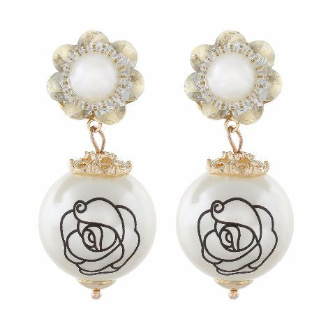 Gold colour Round Pearl Earring shape Pearl Earring