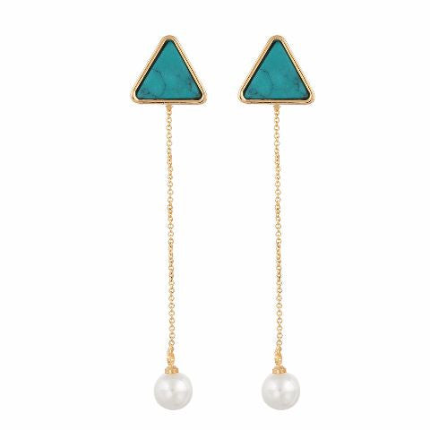 Gold colour Triangle with Pearl shape Pearl Earring