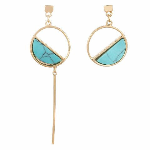 Turquoise colour Round shape Stone Studded Earring