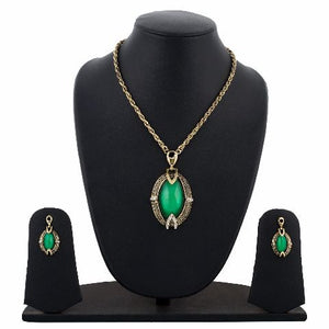 Gold and Green colour Indo Western design Necklace Set