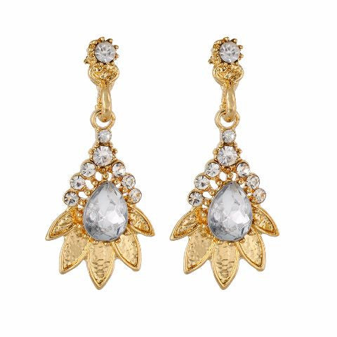 White and Gold colour Floral shape Stone Studded Earring