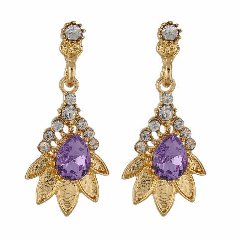 Purple and Gold colour Floral shape Stone Studded Earring